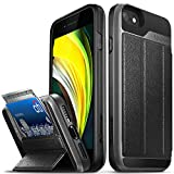 Vena vCommute Wallet Case Compatible with Apple iPhone SE 2020 / iPhone 8 7 (4.7'-inch), (Military Grade Drop Protection) Flip Leather Cover Card Slot Holder with Kickstand - Space Gray