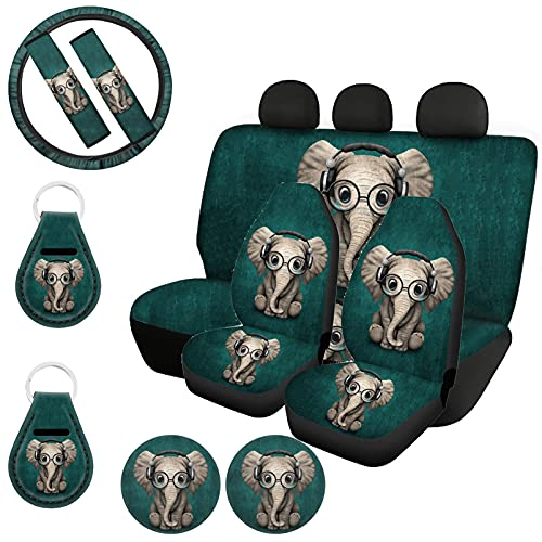 UZZUHI Car Interior Accessories Set for Men Women,Green Elephant Headset Glasses,Car Front & Rear Seat Covers+ Steering Wheel Wraps+ Seat Belt Cover+ Cup Holder Coaster+ Auto Keychains