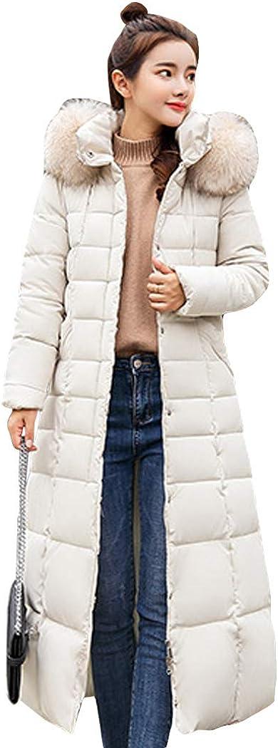 watersouprty Women Ladies Slim Hooded Down Padded Long Winter Warm Parka Outwear Jacket Coat with Removable Faux Fur Hood