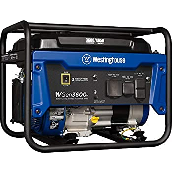 Westinghouse Outdoor Power Equipment WGen3600v Portable Generator 3600 Rated and 4650 Peak Watts RV Ready Gas Powered CARB Compliant