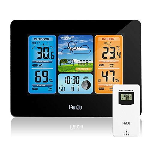 HNHESN Funkwetterstation Funk mit Außensensor, USB-Ladeanschluss, Innen, Außentemperatur und Luftfeuchtigkeit, Uhr/Mondphase, Uhren mit Thermometer