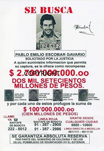 Fotodruck von Pablo Escobar, mit vorgedrucktem Autogramm, limitierte Edition