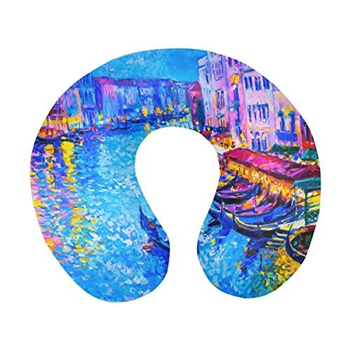 City View Venecia Italia Grand Canal Gondola Painting Almohada de Viaje de Espuma viscoelástica en Forma de U para el Cuello para Viajar en avión, autobús, Tren o en casa