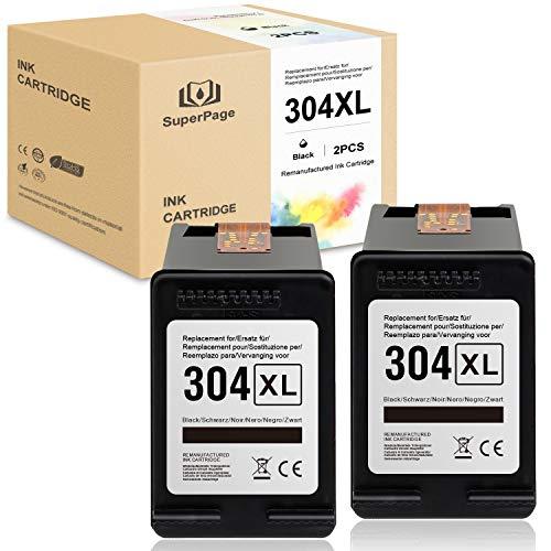 Superpage 304XL - Cartuchos de tinta remanufacturados para HP 304 XL para impresoras HP DeskJet 3720, 3730, 3732, 3752, 3755, 3758 y 3760, 2 unidades, color negro