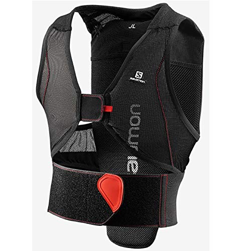 Salomon Kinder Ski-Rückenprotektor, Verstellbar, MotionFit, Atmungsaktiv, Flexcell Junior, Größe JL, Schwarz/Rot, L39139300