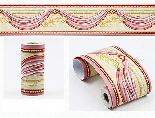 Borde del papel pintado Serpentina rosa Auto Adhesivo del Papel Pintado del PVC Cenefa autoadhesiva para decoración de pared de cocina, baño 10cm X 900cm