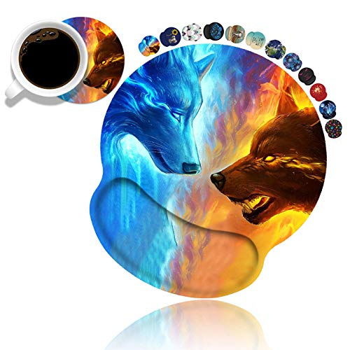 BWOOLL Ergonomic Mouse Pad Wrist Support and Coasters Set, Cute Wrist Rest Pad with Non-Slip PU Base for Home Office Working Studying Easy Typing & Pain Relief, Ice and Fire Wolf Head Galaxy