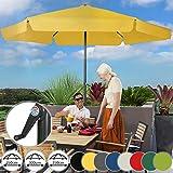 Sonnenschirm in Ø 2,5m / 3m / 3,5m - in Farbwahl, Wasserabweisender Schirmbezug, mit Krempe und Kurbel, aus Stahlrohr - Marktschirm, Gartenschirm, Terrassenschirm, Ampelschirm (Ø 3,5 m, Gelb)
