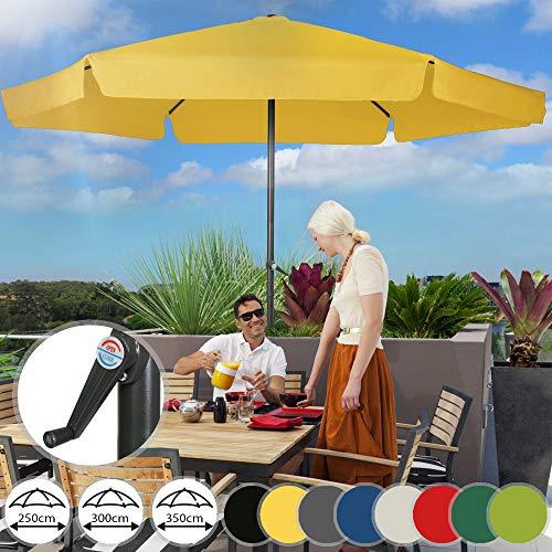 MIADOMODO Sonnenschirm in Ø 2,5m / 3m / 3,5m - in Farbwahl, Wasserabweisender Schirmbezug, mit Krempe und Kurbel, aus Stahlrohr - Marktschirm, Gartenschirm, Terrassenschirm, Ampelschirm (Ø 3 m, Gelb)