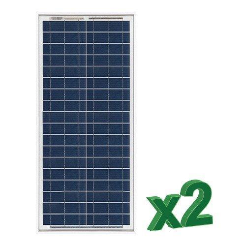 Conjunto de 2 Placa Solar Fotovoltaico 30W 12V total 60W Policristalino adecuado para Camper Caravan Camperista Chalet Boot