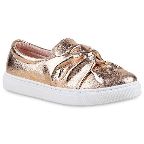stiefelparadies Damen Slipper Bequeme Slip-Ons Schleifen Fransen Pailletten Sneakers Kroko Sneaker Low Skater Flats Schuhe 133196 Rose Gold 38 Flandell