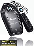 【YOSHINARI】 BMW ディスプレイキー キーケース BMW 5 6 7 シリーズ X3 X5 X7 i8 専用 カバー 高級 オシャレ スマートキー キーホルダー 保護 ケース 傷 汚れ 防止 (ブラック)