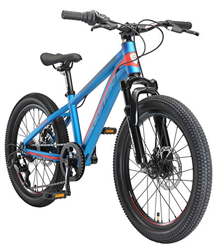 BIKESTAR Kinder Fahrrad Aluminium Mountainbike 7 Gang Shimano, Scheibenbremse ab 6 Jahre | 20 Zoll Kinderrad MTB | Blau Orange