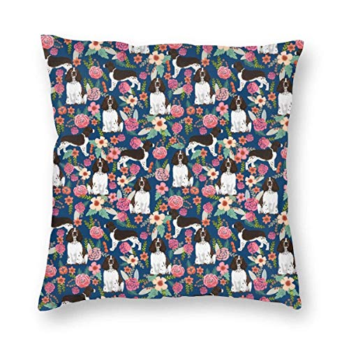 N / A Soft Throw Pillow Covers Decorative Square Pillowcase with Hidden Zipper Throw Cushion Case for Sofa Couch Bedroom Car, English Springer Spaniel and Retro Floral