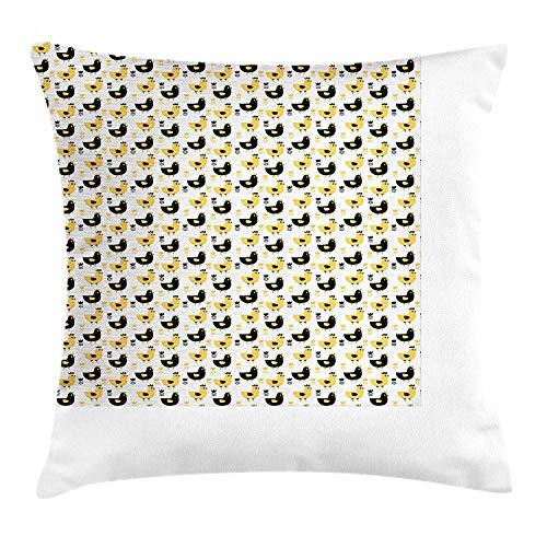 Dieren gooien kussen kussensloop, landbouw patroon met boerderij kippen print en grafische Tulpen afbeelding, decoratieve vierkante Accent kussensloop, 18 X 18 inch, zwart wit en mosterd