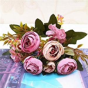 1pcEuropean Retro Artificial Small Tea Rose Bouquet High-grade Wedding Home Fake Flower Party,purple