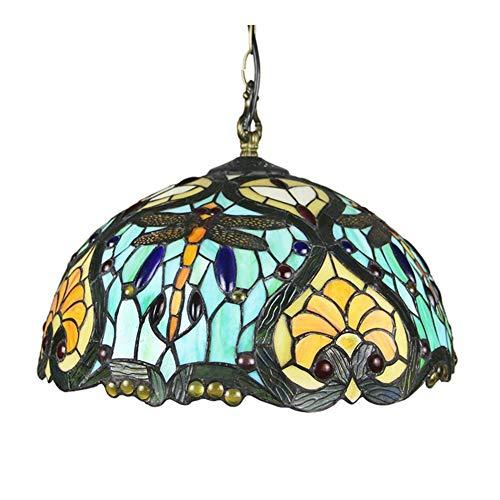 Tiffany Lamp Shade Lámpara de colgante de estilo de tiffany Lámpara de vidrio de libélula Lámpara colgante de 16 pulgadas Tiffany Tiffany Luz de tifón Lámpara de estilo vintage para comedor Sala de es
