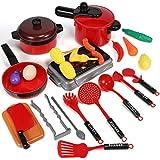GeyiieTOYS Küchenspielzeug Kinderküche Topfset, Kochtopf Kochgeschirr Set für Spielküche aus Pfanne und Lebensmittel, Lernen Spielzeug Rollenspiele Mädchen Jungen
