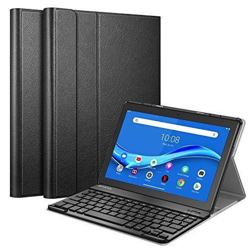 Fintie Tastatur Hülle Kompatible für Lenovo Tab M10 TB-X505F / TB-X505L / TB-X605F / TB-X605L, Slim Schutzhülle mit magnetisch Abnehmbarer Deutsches QWERTZ Bluetooth Keyboard, Schwarz