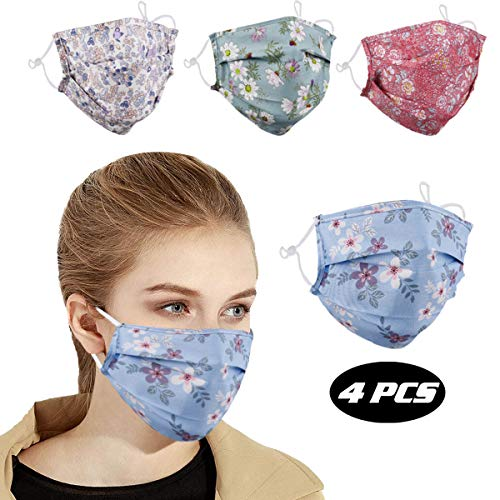 Reusable Face Mask with Adjustable Ear Loops for Protection, Soft Fabric Washable Breathable Cotton Cloth Layer Mask Cover, Cute Fashion Designer Madks for Women Men Adult Gift