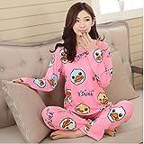 Pijamas de Mujer Primavera Verano Manga Larga Estampado Fino Pijamas Lindos Pijamas de niña Grande Pijamas Informales para Estudiantes
