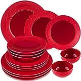 Melox Vajilla de porcelana de 14 piezas, color negro, azul, rojo, diseño de Londres, apto...