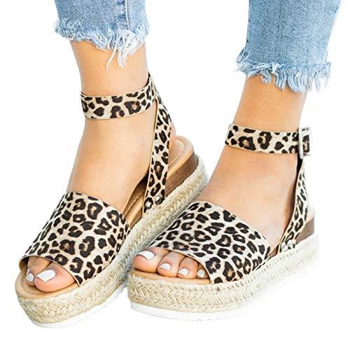Binggong Y2K Style Damen Sandalen mit Leopard Motiv, Strandsandalen Anti-Rutsch-Sandalen Lässige Damen Flache Schuhe Römersandalen Pantoletten Toe Flip Flop Schuhe-Sommer Ideal Schuhe