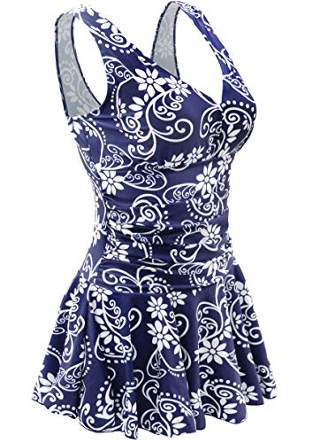 AONTUS Plus Size Underwire Full Busted Bathing Suits Cover 4XL Swimwear One Piece Tankini Skirt 4XL