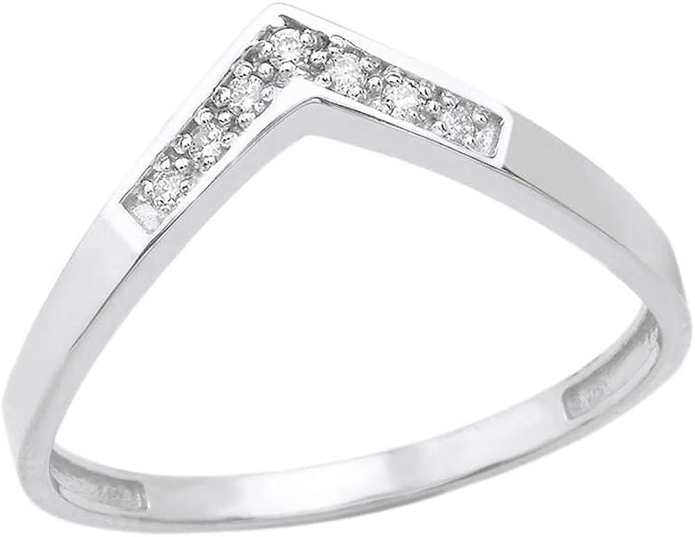 Elegant Women's 10k Gold Round Diamond Wedding Band V Shape Curved Chevron Ring