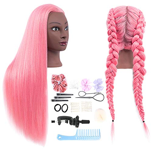 HAIREALM 26' Mannequin Head Hair Styling Training Head Manikin Cosmetology Doll Head Synthetic Fiber Hair (Table Clamp Stand Included) SL192B
