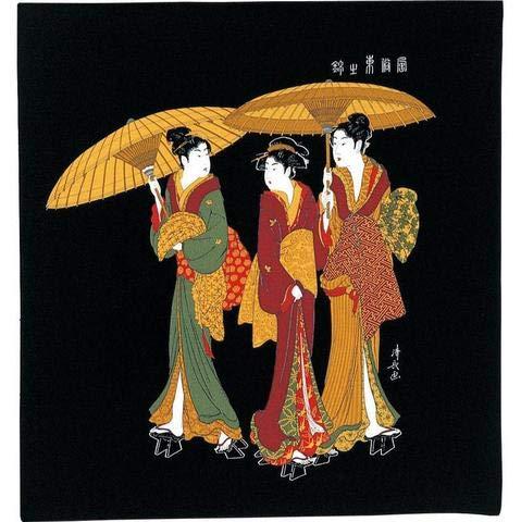 Japón no Yokan Furoshiki «Tres Mujeres bajo la Lluvia» (68 cm)