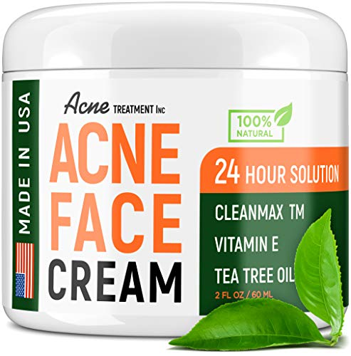 Acne Treatment Natural Cream - Made in USA - Acne Scar Removal & Acne Spot Pimple Cream with Tea Tree Oil - Safe & Intensive Cystic Acne Removal - Prevent Breakouts for Normal, Dry & Oily Skin - 2 oz