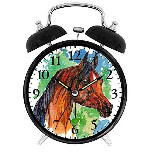CZHEZEE Brown Horse - Watercolor Pony Print Clock - Decorative Alarm Clock Battery Operated - Creative Alarm Clock Round for Bedroom - Novelty Gift foe Family/Friends