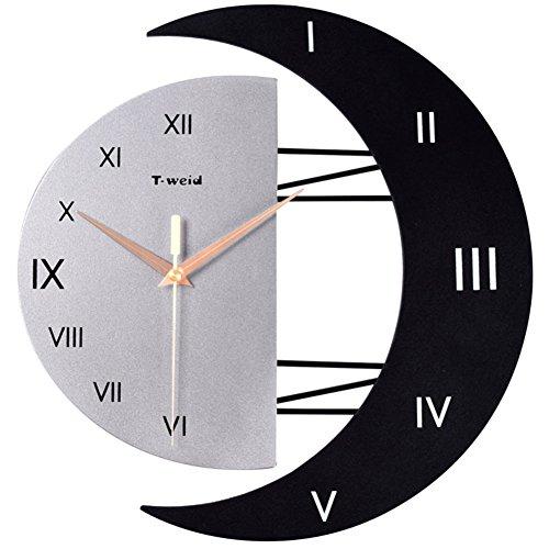 Sunjun Moon and Watch The Living Room Orologio da parete Moda Arti creative Hanging Table Clock Orologio elettronico Orologio da parete moderno Decor ( dimensioni : #2 )