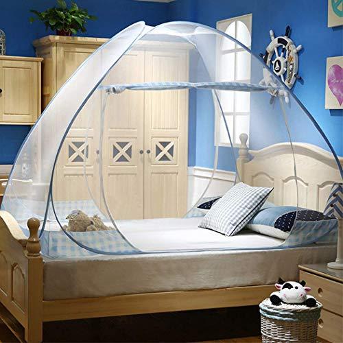 Digead Moskitonetz Bett , Faltbares Bett-Moskitonetz , Tragbares Reise-moskitonetz , Einzeltür-Moskito-Campingvorhang ,120 * 200 cm - Blauer Rand