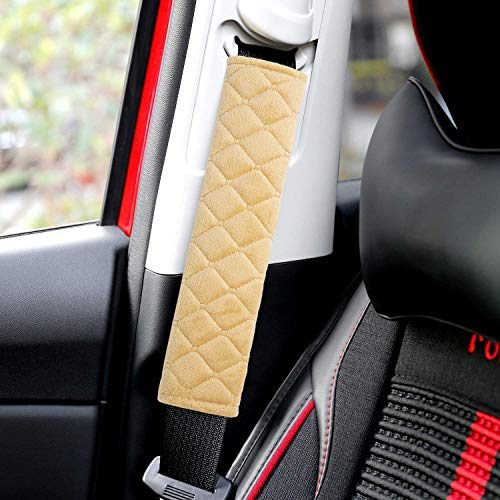 Minisoo 2pcs Seat Belt Covers, Soft Velvet Feel Car Belt Protector Shoulder Seatbelt Strap Pad for Adults Youth Kids - Car, Truck, SUV, Airplane,Carmera Backpack Straps (Beige)