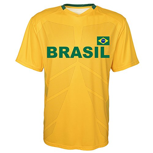 World Cup Soccer Brazil Youth Boys Federation Jersey Short Sleeve Tee, X-Large (18), Yellow