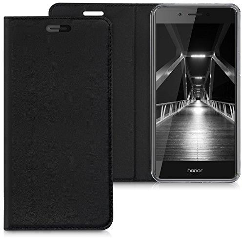 kwmobile Huawei Honor 6C Hülle - Kunstleder Handy Schutzhülle - Flip Cover Case für Huawei Honor 6C - Schwarz