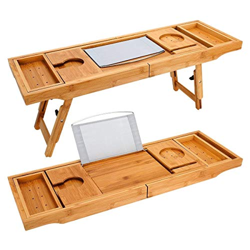 TILEMALL Bathtub Caddy & Laptop Bed Desk - 2 in 1, Bath Tray Built-in Stand for Books or Tablets,...
