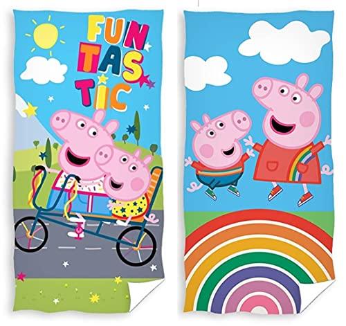rainbowFUN.de Peppa Pig - Juego de 2 toallas de baño (70 x 140 cm, algodón), diseño de Peppa Pig