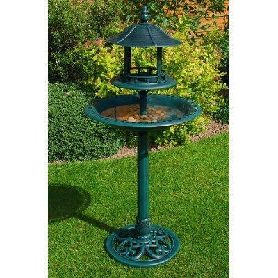 Kingfisher RESIN ORNAMENTAL BIRD BATH & FEEDER TABLE. WEATHER, ROT PROOF. NO TOOLS ASSEMBLY