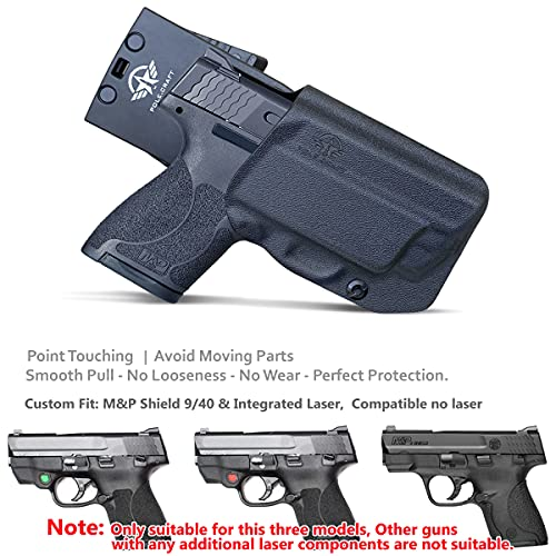 M&P Shield 9mm Holster OWB Kydex for Smith & Wesson M&P Shield 9mm / .40 M2.0, with Integrated Laser, M&P Shield Holster OWB with Laser, Outside Waistband Carry 1.5-2 Inch Belt Clip with Leggings