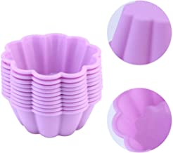 UPKOCH 10 Pcs Silicone Muffin Cups Cupcake Liners Non-Stick Baking Cups Liners Baking Mold for Ice Chocolate Cake Mousse Dessert (Random Color)