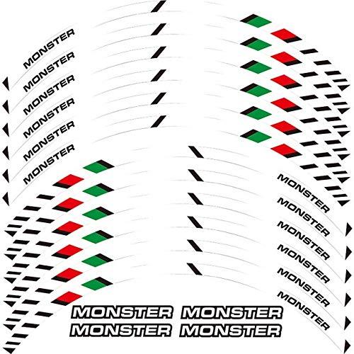 Viicontory Un Conjunto de calcomanías de Rueda de Motocicleta 12 unids Impermeable Reflectante Pegatinas Ramas de llanta para Ducati Monster 695 696 1100 1100 (Color : White)