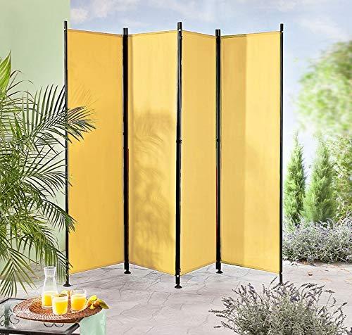 IMC Paravent 4-teilig gelb-orange Raumteiler Trennwand Sichtschutz, faltbar/flexibel verstellbar, wetterfester Polyester-Stoff, Schwarze Metallstangen