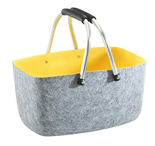 Kobolo Filzkorb Einkaufkorb Korb - Aluminium-Henkel - Filz - grau gelb - 36x22x18 cm