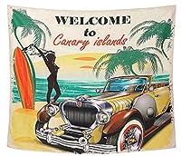 ND タペストリー 西海岸 アメ車 ルート66 ビーチ 夕焼け アメリカ ヤシの木 カリフォルニア 海 季節 夏 太陽 テレワーク 背景 ヴィンテージ 大きい 壁 布 目隠し 部屋 飾り zoom 映え ロゴ 写真撮影 インテリア おしゃれ (デザイン3)