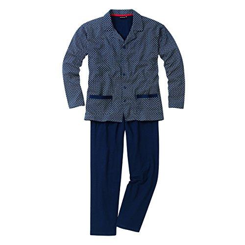Götzburg Pyjama Alan in Navy mit Muster Übergröße, deutsche Größe:60
