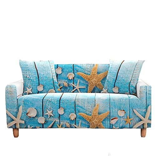 Meiju 3D Fundas de Sofá Elasticas de 1 2 3 4 Plazas, 3D Océano Ajustables Cubierta de Sofá Cubre Sofa Antideslizante Funda Cubre Sofas Furniture Protector (Estrella mar Azul,1 Plaza - 90-140cm)