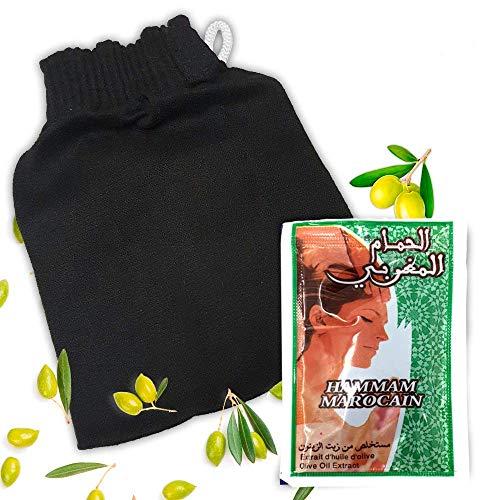 Gant de gommage Kessa Haute Qualité du Maroc + 1 dosette de savon noir spécialement confectionné pour vous aider à prendre soin de votre visage. Avec une surface granuleuse
